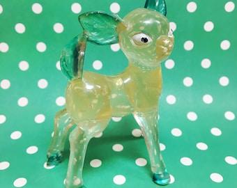 Vintage Hong Kong Green Clear Lucite Fawn Deer Figurine
