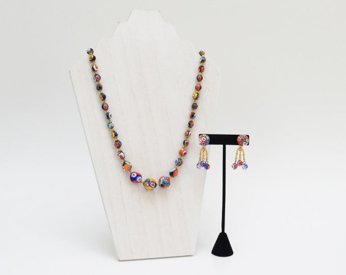Vintage 1930s Murano Glass Beaded Necklace and Earring Set
