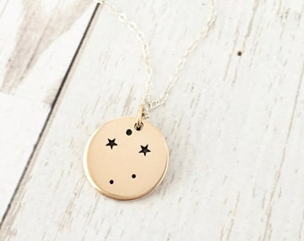 Libra Necklace -Zodiac Jewelry - Zodiac Necklace - Constellation - Star - September October Birthday Gift for Her - Sterling Silver - Gold
