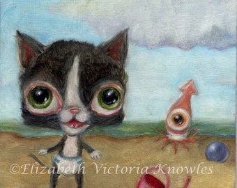 Baby Kitten & Squid in Diapers, Beach scene, Big Eye, Lowbrow, Ugly Cute, Knowles, Print Size Options Available