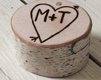 Wedding Ring Box Birch - Rusic Wedding - Ring Bearers Box - Woodland - Elegant Rustic Chic