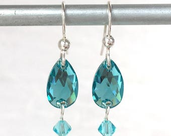 Mothers Day Gift - Turquoise Earrings - Aqua Crystal Earring - Turquoise Jewelry - December Birthstone