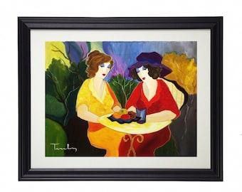 "itzchak tarkay ""sisters"" art print framed Large"