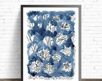 Abstract floral painting. Indigo art. Watercolor print. Floral art print. Watercolor flowers. Living room art. Modern art. Indigo Wall Art