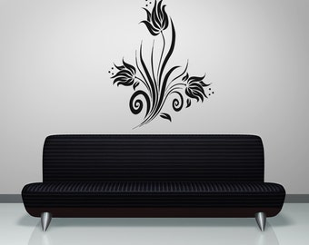 Vinyl Wall Decal Sticker Swirly Tulips OSAA363B