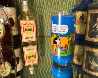 Vintage Snoopy Glass with a  Soy Caramel & Amber scent