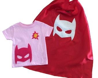 POW! Superhero Kids Light Pink T-Shirt & Red Cape Combo - Birthday Gift - Boy or Girl
