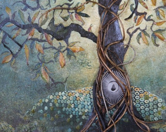 "Mixed Media ""Pear Tree"" 20""x16"" Oil and Acrylic Painting with Original Sunburst and Pear Wet Plate Collodion Photo"