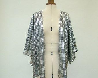 Silver kimono, Disco Fever, Kimono Jacket, silver, sparkly, bestival, sequin, Glastonbury, fancy dress, small, medium, festival clothing