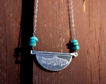 Rustic Sterling Silver & Arizona Kingman Mine Turquoise Trout Fish Necklace