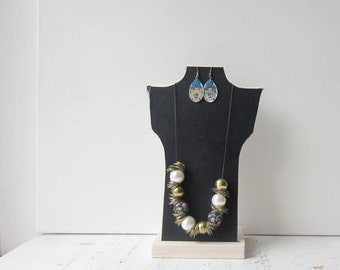 Necklace Bust Reversible - Dark Blue / Light Blue  - Recycled Book Necklace Jewelry Display - ONE Necklace Holder