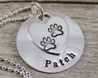 Mom Necklace For Pet Owner - Hand Stamped Jewelry - Personalized Jewelry - Pet Jewelry - Sterling Silver - Paw Print Heart Charm