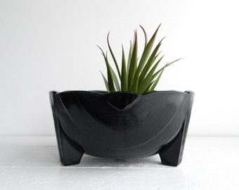 Vintage McKee Black Onyx Glass Bulb Bowl