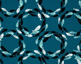 Fish Circles on Blue from Andover's Tides Collection By Jane Dixon