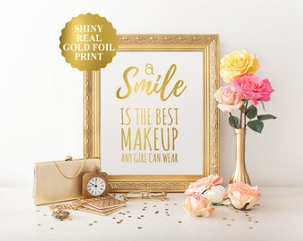 A smile is the best makeup any girl can wear, Marilyn Monroe quote, Gold Foil Print, Inspirational Bedroom Decor, Gold Foil Nursery Decor
