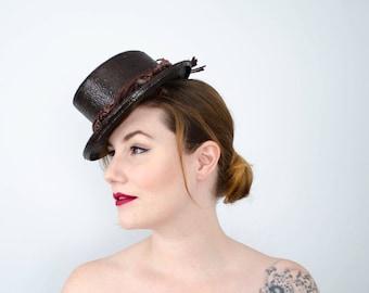1940s tilt hat | brown straw tilted top hat | New York Creations