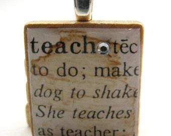 Teach - vintage dictionary Scrabble tile with Swarovski crystal - great teacher gift