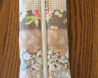 Quilted Pencil Case/Tan