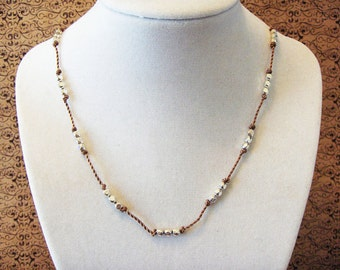 Sandy Brown & Silver Necklace