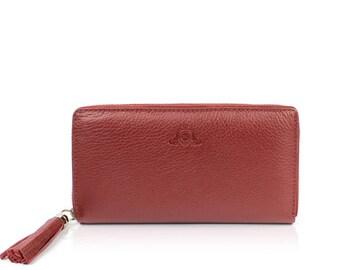 Leather Ladies Wallet Handmade Women Wallet , Groomsmen Gifts, Soft Leather WJEN-BS01-RED
