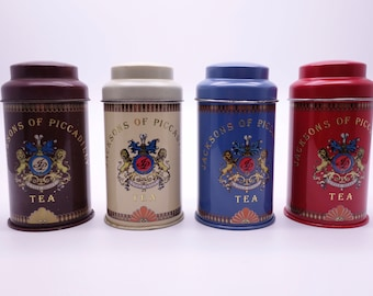 4 Vintage Jacksons Of Piccadilly Small Tea Tins, Storage Canisters, Shop Tins, Vintage Tins, Display Items, Props