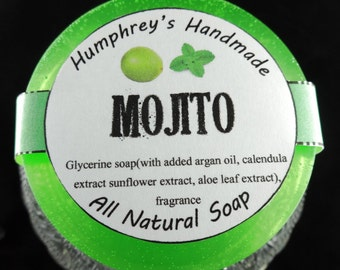MOJITO Bright Green Shave & Shampoo Soap, Beard Wash, Lime and Peppermint Essential Oil, Glycerine Soap, Unisex Great Family Scent Argan Oil