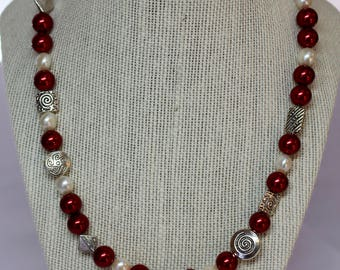 Red Glass Pearl and Fresh Water Pearl Necklace.