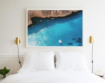 Summer in Greece ART PRINT Beach poster | Aerial photography | Greece from above blue sea | Mediteranean Summer Blue ocean Wall art Decor