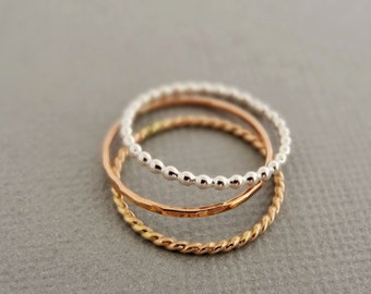 Thin Stacking Rings mixed metal Rose Gold Stackable Ring, Gold Twist Ring, Sterling Silver Bead Ring