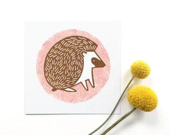Hedgehog Illustration Linocut Print