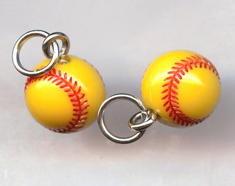 SOFTBALL Charm. Resin. Yellow. dlt