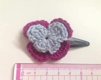 2 hair pins Click Clack thoughts tone purple and sky blue