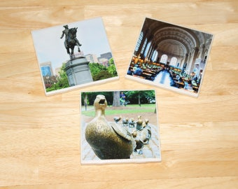 Boston Common Coaster Set (3-Pack) // Custom Coaster Set // New England Coaster // Boston Coaster // Boston Common // Make Way For Ducklings