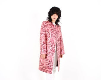 90s DOLCE & GABBANA Pink Vinyl PVC Paisley Print Avant Garde Long Full Length Trench Coat Y2K Millennium Jacket - Unisex