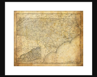 North Carolina State Map Vintage Print Poster Grunge