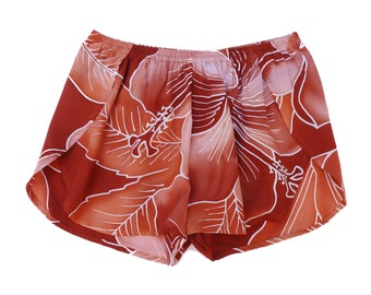 Boho Beach Short, Womens Beach Short, Rusty Floral Womens Shorts, Batik Floral Beach Cover-up