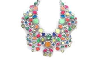 DISCO POPSICLE Hand Sewn statement bib necklace neon colours and rhinestonEs