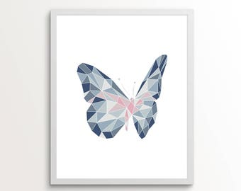 Butterfly Wall Art, Butterfly Decor, Butterfly Wings, Navy Blue Wall Art, Butterfly Wall Art For Nursery, Butterfly Print, Butterfly Art