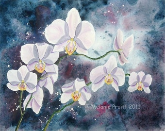 Enchanted Lavender Orchid ORIGINAL 11x14 flower floral watercolor painting by Melanie Pruitt EBSQ sfa