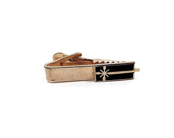 Vintage Tie Clip, Black Enameled Present Gift, Gold Tone, Christmas Jewelry, Mens Formal, Mid Century 1950s 50s, Holiday Accessories