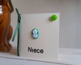 Niece Birthday Card for Her - Mini Card for Niece with Green Cameo - Handmade Card - Unique Card - Elegant Card - Special Niece