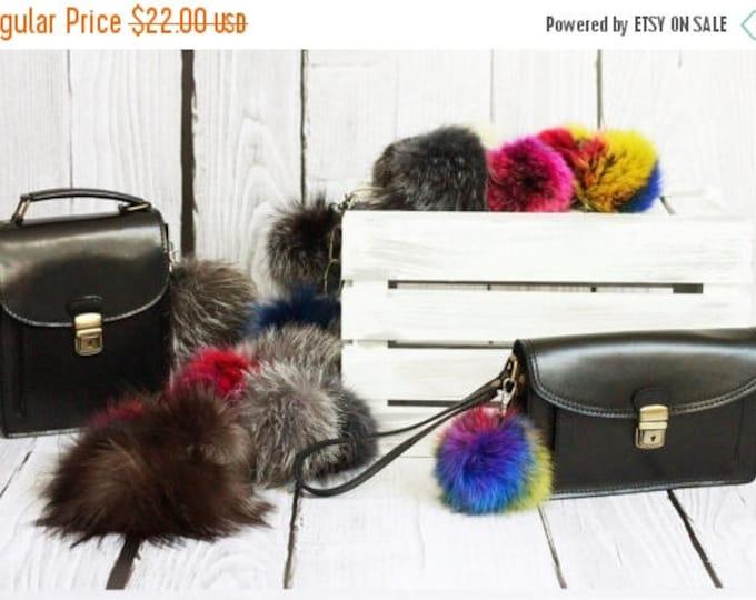 ON SALE Real fox fur pom pom Fur bag charm, fur pom pom keychain, fur ballkeyring purse pendant