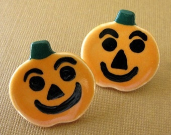 Pumpkin Jack O Lantern Halloween Earrings Handmade Porcelain Jewelry