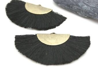 2 Large Tassels, Fan Shape Tassel, Black Tassel, Jewelry Making, Earrings Tassel