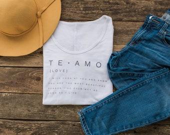 Te Amo Shirt - Women's Graphic Tee - Definition Shirt - Love Shirt - Inspirational Shirt - BFF Gift - Lightweight Tee - Yoga Graphic Tee