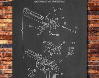 Beretta M9 92F Service Pistol Patent Print Art 1997