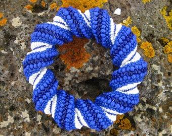 Beading Pattern – Cellini Spiral Beaded Bracelet – Seed Bead Bracelet – Beading Tutorial – Mediterranean Blue Spiral Bracelet – Beadwork PDF