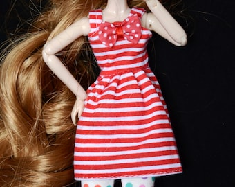 Red Stripe Sundress with Bow for Blythe and Pullip Dolls