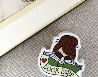 Book Babe Brunette Vinyl Sticker / Reader Gift / Modern Sticker / Laptop Sticker / Girl Sticker / Bookworm Sticker / Waterproof Sticker