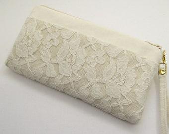 Bridal clutch bag, Bridesmaid bag,Ivory clutch,  Set 3,   Beach wedding, Summer wedding, Ivory lace ,Rustic clutch Made To Order